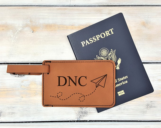 Personalized Luggage Tag | Monogrammed | Personalized Gift | Travel | Wedding | Honeymoon | Adventure | Bag Tag | Plane | Laser Engraved