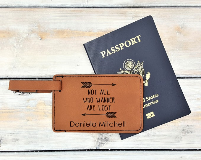 Personalized Luggage Tag | Monogrammed | Personalized Gift | Travel | Wedding | Honeymoon | Adventure | Bag Tag | Wander | Laser Engraved