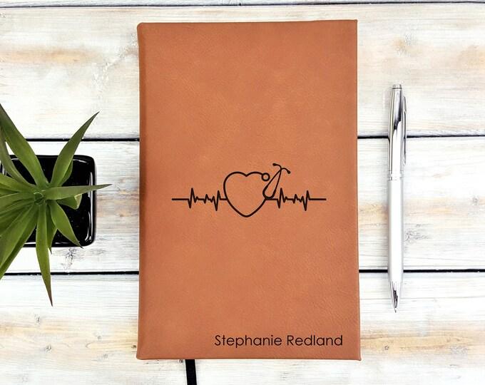 Personalized Monogrammed Nurse Heart Stethoscope Journal Notebook