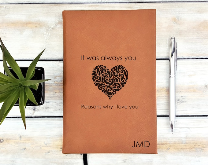 Personalized Journal | Guess Book | Notebook | Monogrammed | Personalized Gift | Wedding | Heart | It Was Always You | Laser Engraved