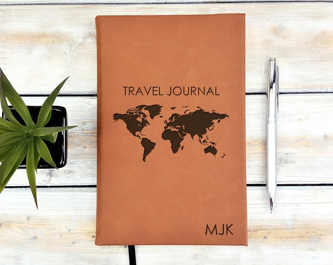 Personalized Journal | Notebook | Monogrammed | Personalized Gift | Travel | Adventure | Wedding Planner | World Map | Laser Engraved