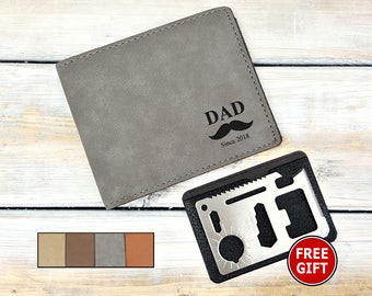 Personalized Wallet | Monogrammed | Dad | Bi-Fold | Fathers Day | 11 in 1 Survival Tool Card | Bottle Opener | Laser Engraved | FREE GIFT