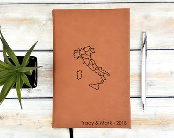 Personalized Journal | Notebook | Monogram | Gift | Travel Journal | Adventure | Wedding Planner | Italy Map | Rome | Pisa | buongiorno