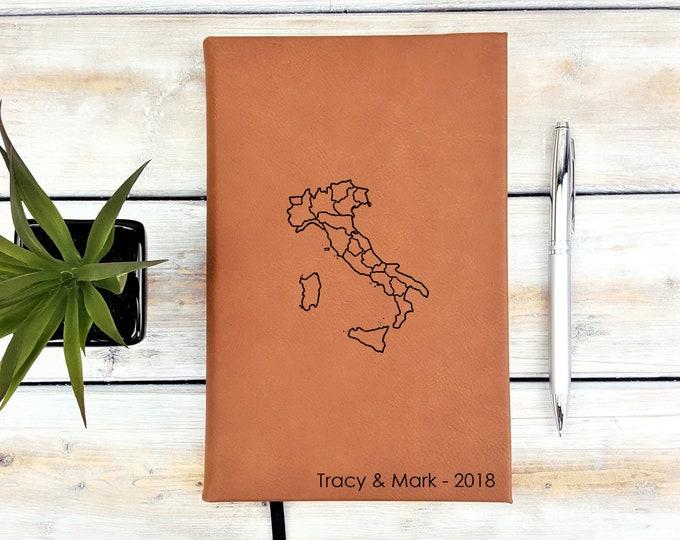 Personalized Journal | Notebook | Monogram | Gift | Travel Journal | Adventure | Wedding Planner | Italy Map | Rome | Pisa | buongiorno