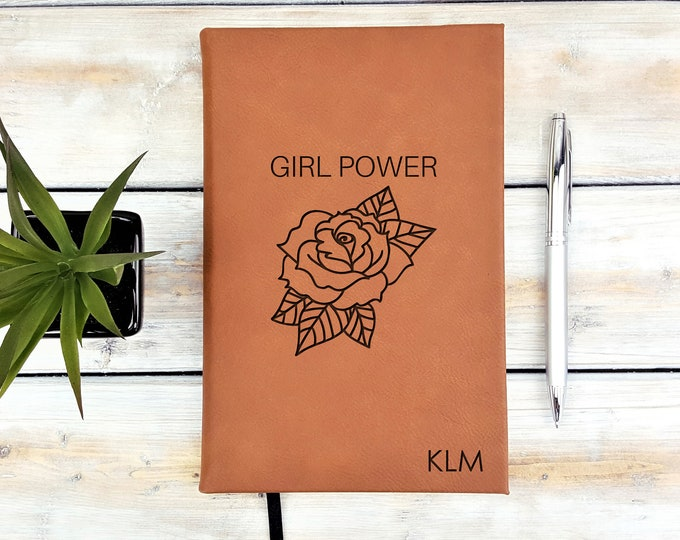 Personalized Journal, Girl Power, Monogrammed Journal, Personalized Notebook, Diary, Leatherette Journal, Back To School
