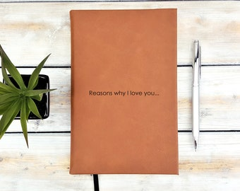 Personalized Monogrammed Reasons Why I love You Valentine's Day Love Journal