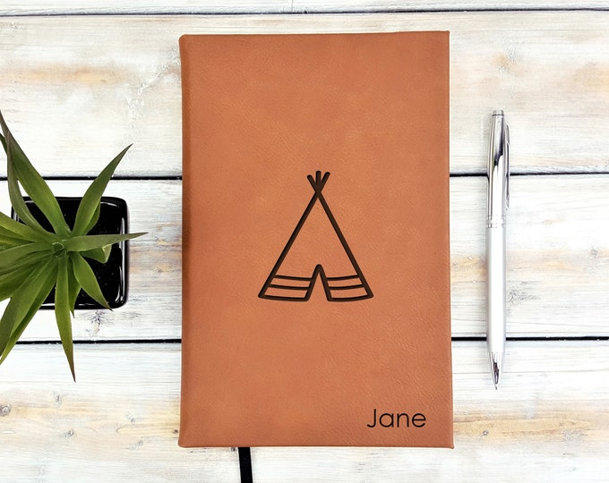 Personalized Journal, Monogrammed Journal, Personalized Notebook, Mountains, Minimalist, Traveler, Tipi, Teepee, Camping, Back To School