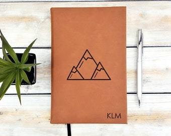 Personalized Journal, Monogrammed Journal, Personalized Notebook, Mountains, Minimalist, Traveler, Leatherette Journal, Back To School