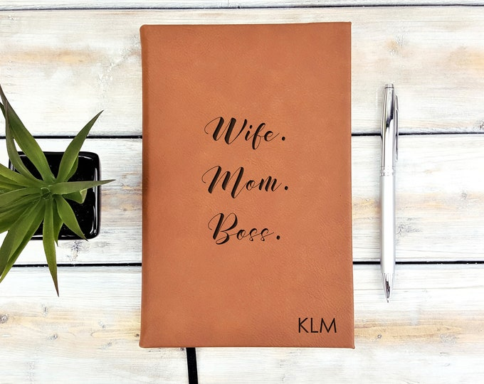 Personalized Journal, Mom Wife Boss, Monogrammed Journal, Personalized Notebook, Diary, Leatherette Journal, Back To School