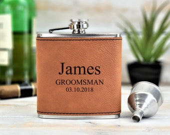 Personalized Flask | Monogrammed | Groomsmen | Groomsman | Wedding | Gift | Bridesmaid | Bow Tie | Best Man | Whiskey | Bar | Father's day