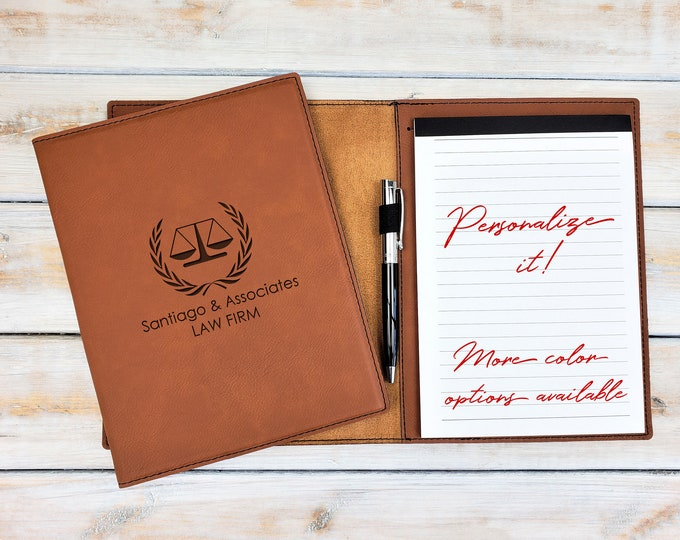 Personalized Notepad | Business Portfolio | Monogrammed | Legal | Engraved | Personalized Gift | Scale of Justice | Lawyer Gift | Attorney