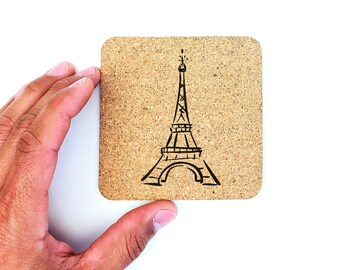Paris France Eiffel Tower Country Cork Coasters