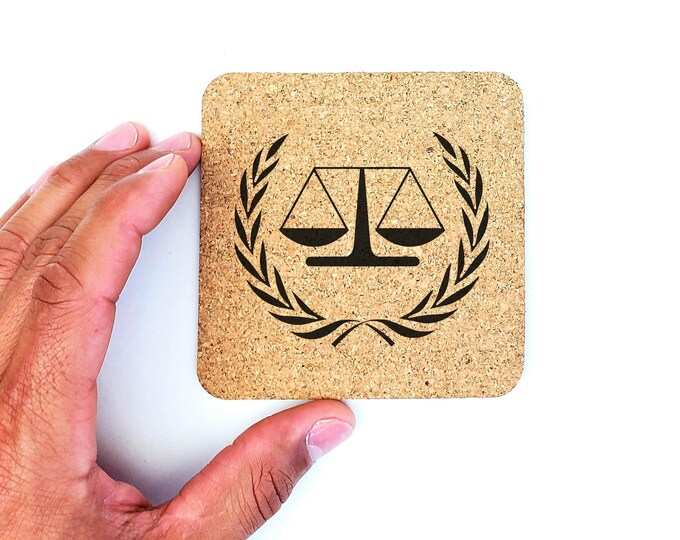 Law Scale Of Justice Lawyer Cork Coasters