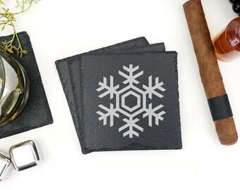 Christmas Slate Coasters | Snowflake Coasters | Snowflake | Christmas | Snow | Drink Coasters