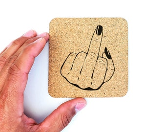 Feminist Middle Finger Fuck Off Cork Coasters