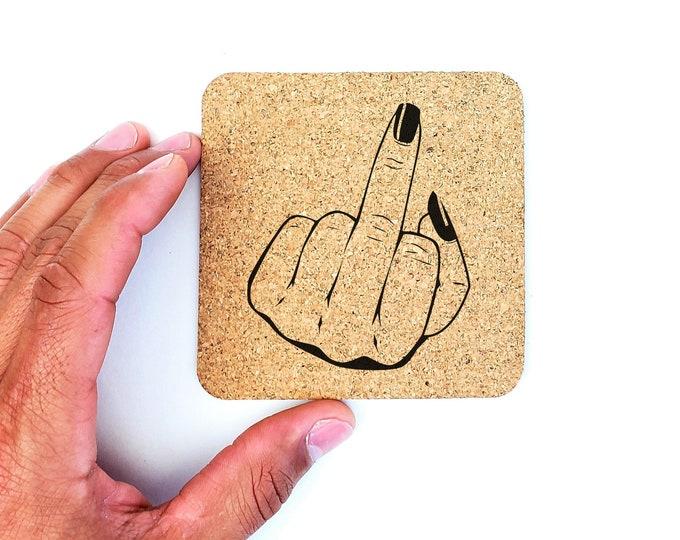 Feminist Middle Finger Fuck Off Cork Coasters