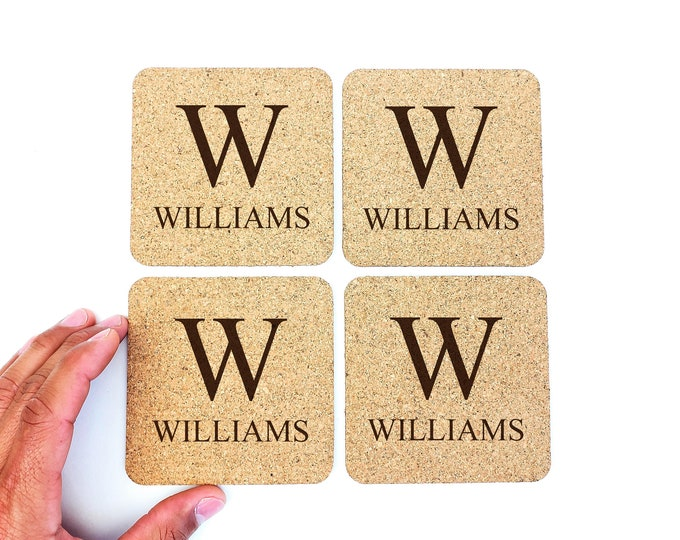 Personalized Cork Coasters | Monogrammed | Last Name | Name | Initial | Wedding | Established | Favors | Housewarming | FREE SHIPPING