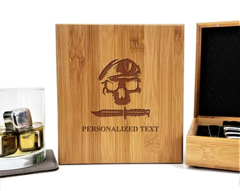 US ARMY Ranger Beret Military Personalized Bamboo Case Stainless Steel Whiskey Stones Gift Set