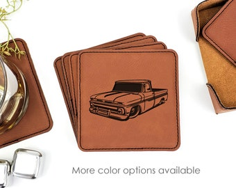 Chevy C10 Pickup Truck Leatherette Coasters Set Of 6 With Caddy