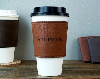 Personalized Cup Sleeve, Your Name, Personalized Coffee Cup Sleeve, Vegan Leather Sleeve, Reusable Cup Sleeve