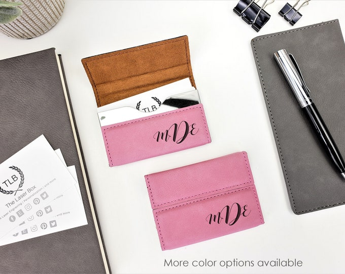 Pink Personalized Custom laser Engraved Monogrammed Business Card Holder