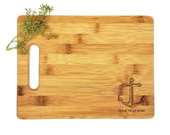 Personalized Cutting Board | Laser Engraved | Housewarming Gift | Nautical | Anchor Cutting Board | Mr and Mrs