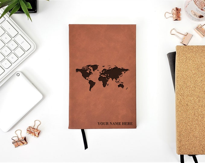 Personalized World Map Travel Journal Notebook | Monogrammed | Personalized Gift | Adventure