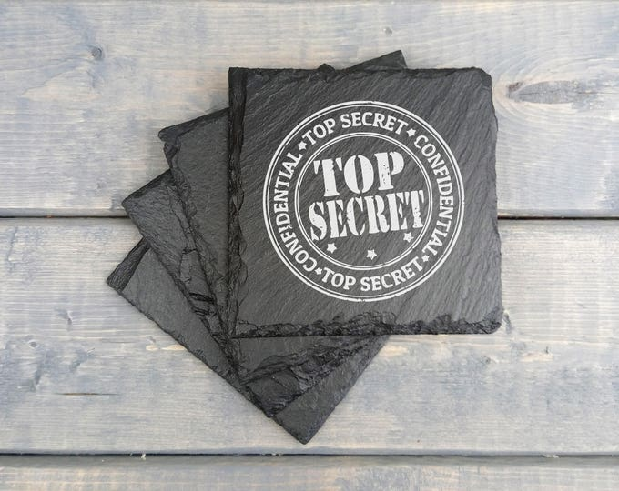 Top Secret | Classified | Secret | seal | Goverment | Laser Engraved | Slate Coasters | Humor | Funny Gift | Gift | Coasters | Set of 4