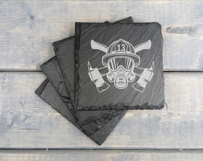 Fire Department Slate Coasters | Fire Department | Laser Engraved | Slate Coasters | Firefighter | Coasters | Set of 4 | FREE SHIPPING