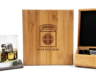 US ARMY 82nd Airborne Paratrooper Military Personalized Bamboo Case Stainless Steel Whiskey Stones Gift Set