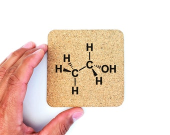 Alcohol Ethanol Chemistry Molecule Science Cork Coasters