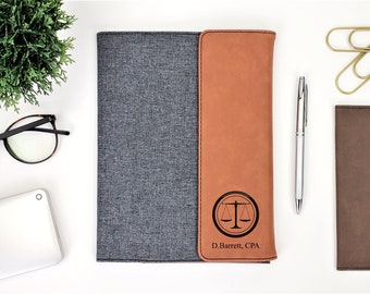 Personalized Attorney Canvas and Leatherette Business Portfolio Notepad | Personalized Gift | Law School Graduation Gift