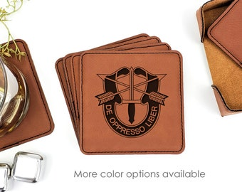 Military US Army Special Forces Leatherette Coasters Set Of 6 With Caddy