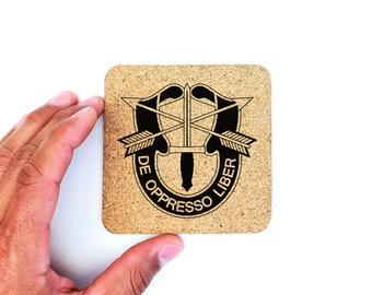 US Army Special Forces De Oppresso Liber Cork Coasters, Drink Coasters