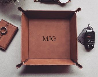 Personalized Catch All Tray, Mens Valet Vegan Leather Tray, Valet Tray For Men, EDC Dump Tray, Coin Tray, Christmas Gift
