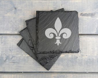 Fleur de Lis Slate Coasters | Fleur de Lis | Laser Engraved | Slate Coasters | New Orleans | Saints | Coasters | Set of 4 | FREE SHIPPING