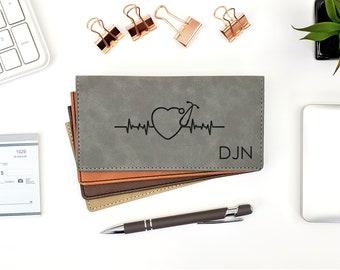 Personalized Checkbook Cover, Medical Stethoscope, Heart EKG, Medicine, Physician, Nurse Graduation Gift