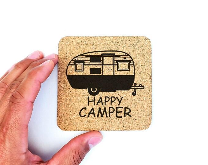 Happy Camper Camping RV Adventure Cork Coasters