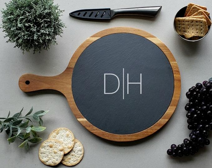 Personalized Charcuterie Board, Modern Round Cheese Board, Slate Paddle Board, Acacia Cutting Board, Anniversary Gift, Serving Board