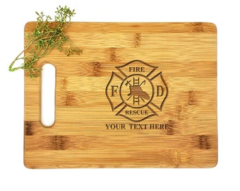 Personalized Cutting Board | Bamboo Cutting Board | Housewarming Gift | Fire and Rescue | Fire Department | Father Gift