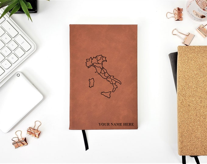 Personalized Journal | Notebook | Monogram | Gift | Travel Journal | Adventure | Italy Journal | Italy Map | Rome | Pisa | buongiorno