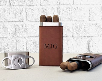 Personalized Cigar Holder Case, Cigar Travel Case, Leather Cigar Case, Custom Cigar Holder, Cigar Case With Cutter
