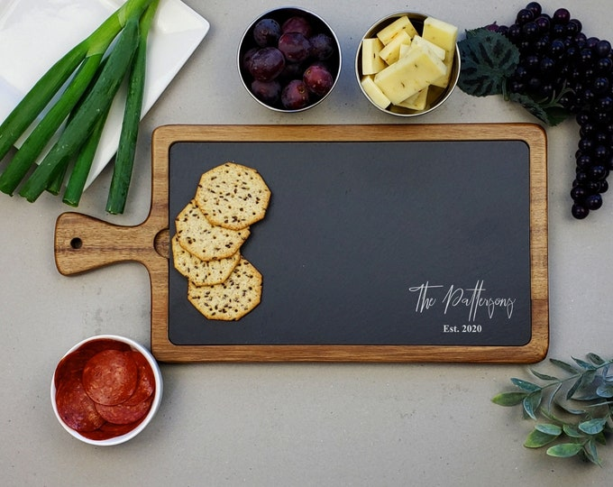Personalized Serving Board, Cheese Board, Slate Paddle Board, Charcuterie Cutting Board, Wedding Anniversary Gift