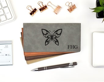 Personalized Checkbook Cover | Butterfly | Change | Transformation | Monogrammed | Laser Engraved | Personalized Gift