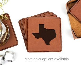 Texas State Outline Map Leatherette Coasters Set Of 6 With Caddy