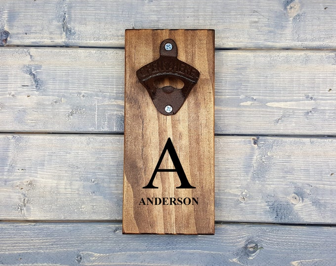 Personalized Bottle Opener | Wall Bottle Opener | Bottle Opener | Laser Engraved | Beer Opener | Groomsmen | Font | Last Name | Housewarming
