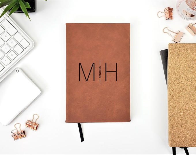 Personalized Modern Minimalist Name Initials Diary Journal Anniversary Gift Travel