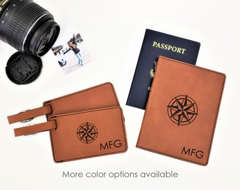 Personalized Monogrammed Initials Compass Passpost Holder Cover Luggage Tag Travel Gift Set