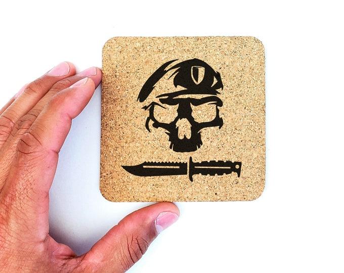 Army Ranger Beret Knife Cork Coasters