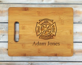 Personalized Cutting Board | Bamboo Cutting Board | Laser Engraved | Housewarming Gift | Fire Departmet | Mothers Day Gift | Father Gift